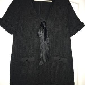 """ZARA """"Chanel-esque"""" black woven dress"""